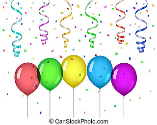 Confetti and party balloons