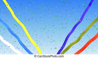 Confetti and ribbons on a blue sky background loop