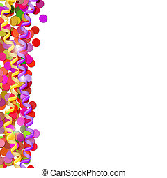 Confetti and streamers isolated on white background. The Festive