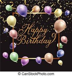 confetti, aniversário, balões, fundo