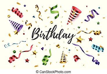 confetti, arrière-plan., anniversaire, isolated., poppers, fête
