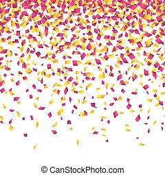 Confetti background. Horizontally seamless illustration.