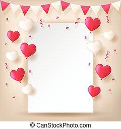 confetti, balões, fitas, buntings