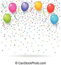confetti, balões, fitas, coloridos