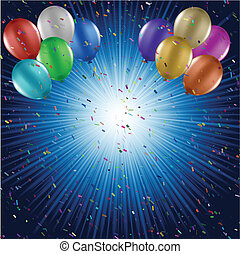 confetti, balões, fundo
