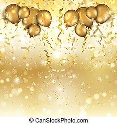 confetti, balões, ouro, fundo