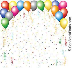 confetti, balões, serpantine