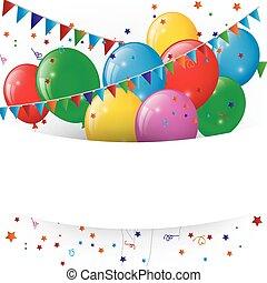 confetti, balões