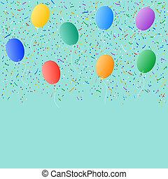 confetti, ballons, arrière-plan coloré