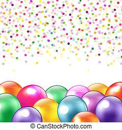 confetti, ballons