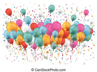 Confetti Balloons Letters Numbers