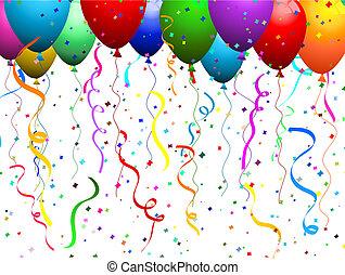 confetti, balony