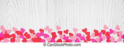 confetti, bannière, jour, frontière, fond, valentines, blanc, bois, coeur, espace copy, sur