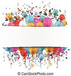 confetti, bannière, papier, blanc, ballons
