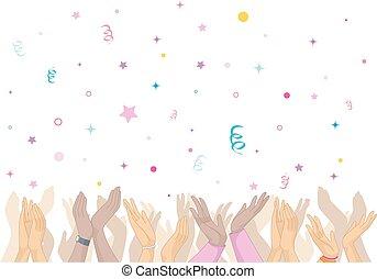 confetti, baterpalmas, mãos