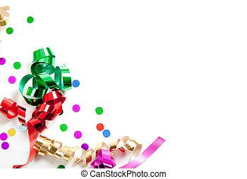 confetti, biały, kopia, wstążki, przestrzeń