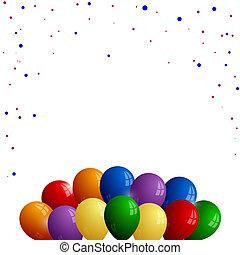 confetti, blanc, ballons, fond, coloré