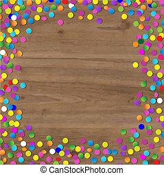 confetti, bois, fond