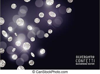 confetti, brilhar, prata