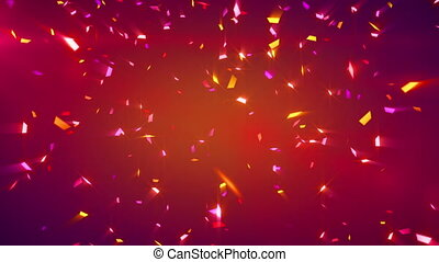 confetti, brillant, arrière-plan rouge, boucle