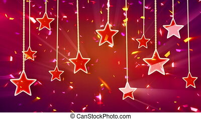confetti, brillant, dos, étoiles, rouges