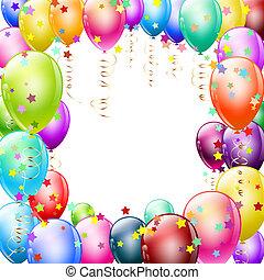 confetti, cadre, ballons, coloré