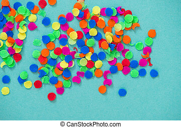 Confetti carnival decoration red green yellow blue background