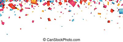 Colorful celebration banner with confetti.