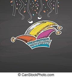 confetti, chapeau, tableau, carnaval