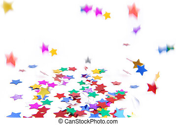 confetti colorful flying isolated on white