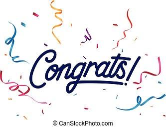 confetti, congrats, kleurrijke, meldingsbord