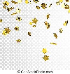 confetti, doré, étoile