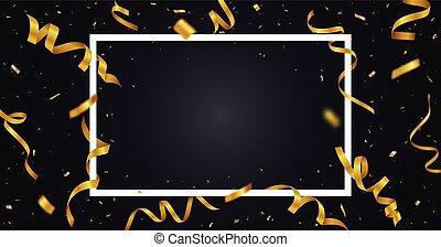 confetti, doré, texte, ruban, espace