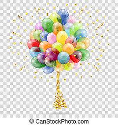 confetti, dourado, flâmula, balões