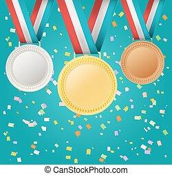 confetti, ensemble, médailles, fond