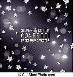 confetti, estrela, prata