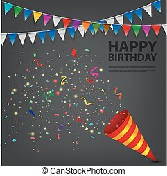confetti, explodindo, popper, aniversário
