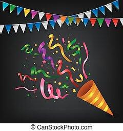 confetti, explodindo, popper, coloridos