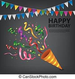 confetti, exploser, popper, anniversaire