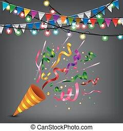 confetti, exploser, popper, coloré
