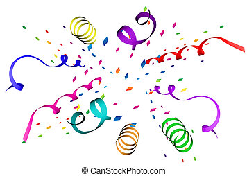 Confetti explosion in different colors over white background