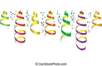 confetti, fête, banderoles