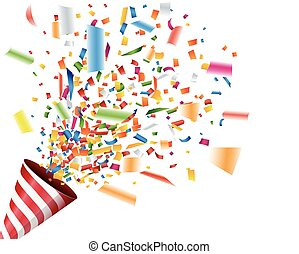 confetti, fête, exploser, popper