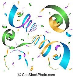 confetti, fête, fond, icône