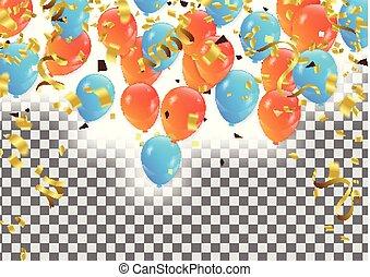 confetti, fête, vecteur, ballons, fond