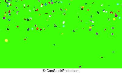 Confetti Falls on a Green Background