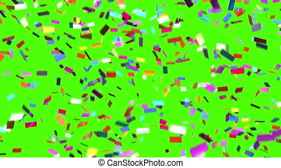 Confetti Falls on a Green Background