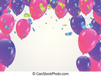 confetti, feestje, vector, ballons, achtergrond