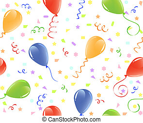 confetti., fondo, seamless, illustrazione, vettore, palloni