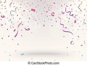 confetti, fundo, coloridos, celebração